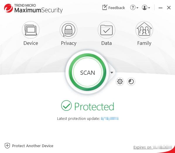 Etkinleştirdikten sonra, Trend Micro Security'nin ana konsolunu göreceksiniz.