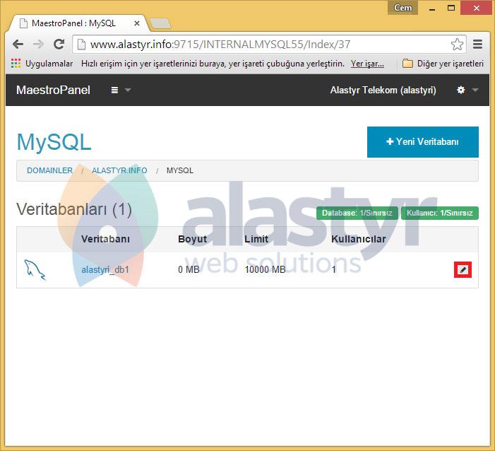 WordPress kurduğunuz veritabanınızın yanında bulunanDüzenleikonuna tıklayın,