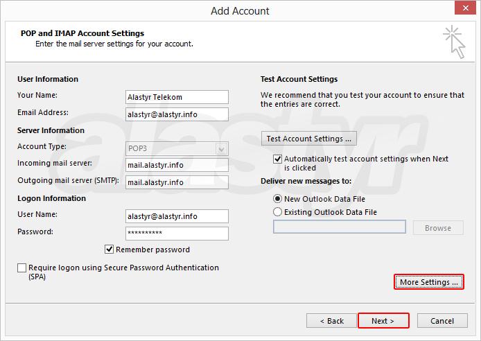 Outlook 2013 E-posta Ayarları