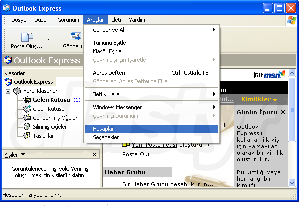 Outlook Express E-mail Ayarları