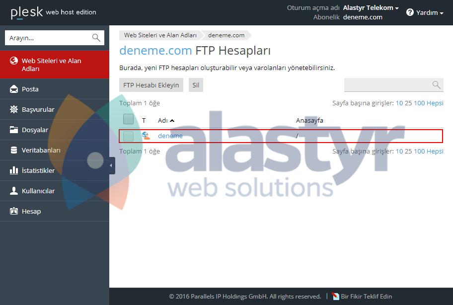 Plesk - FTP şifre değiştirme (2)