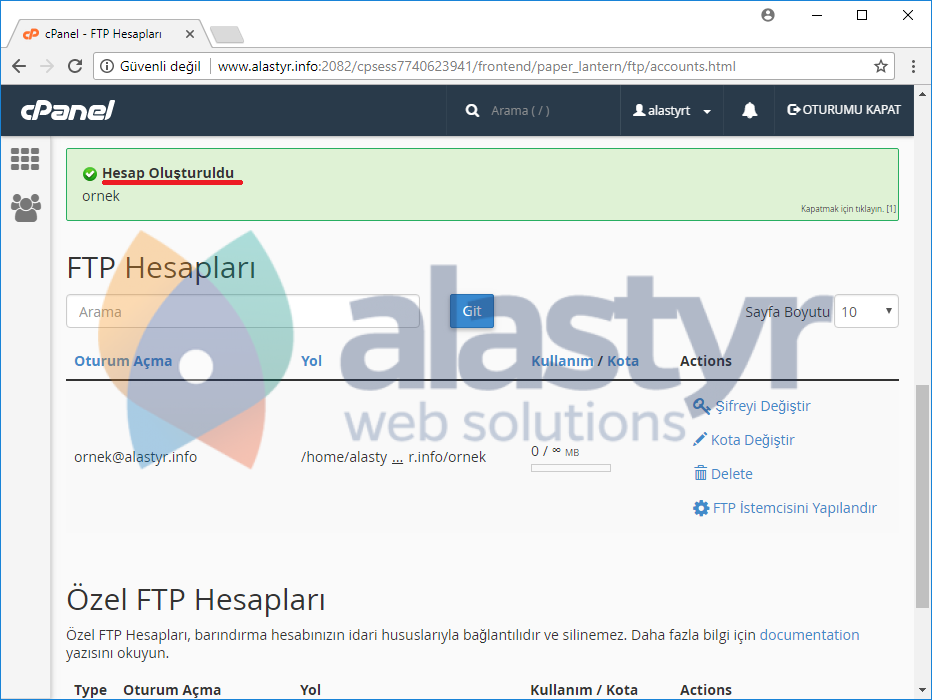 FTP hesabı nasıl oluşturulur (3)
