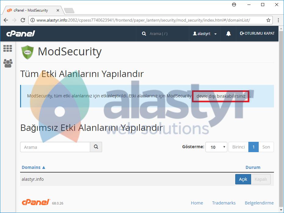 ModSecurity Nasıl Kapatılır (2)