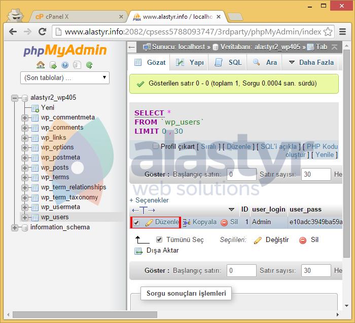 WordPress kurulu veritabanınızınwp_userstablosunu düzenleyin,