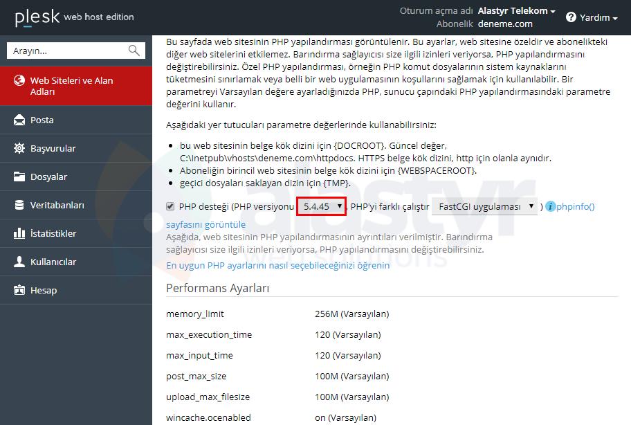 Plesk PHP Sürümü Değiştirme (2)