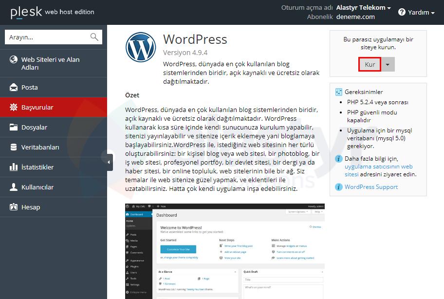 Plesk Panelde WordPress Kurulumu (3)