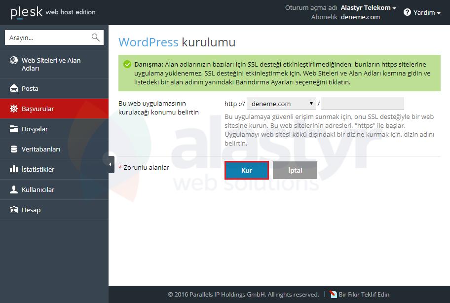 Plesk Panelde WordPress Kurulumu (4)