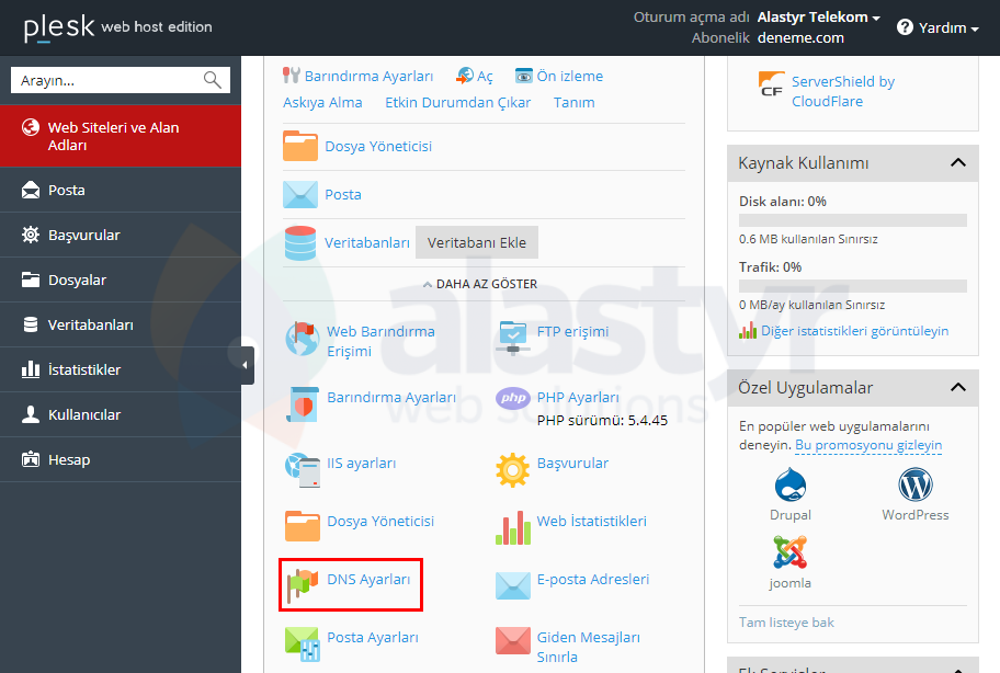 Plesk - Yandex Mail Ayarları (1)