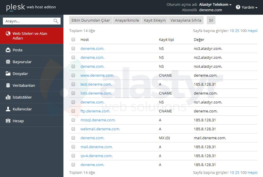 Plesk - Yandex Mail Ayarları (2)