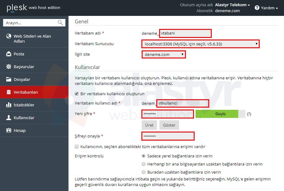 Plesk'te MySQL Veritabanı Oluşturma (3)