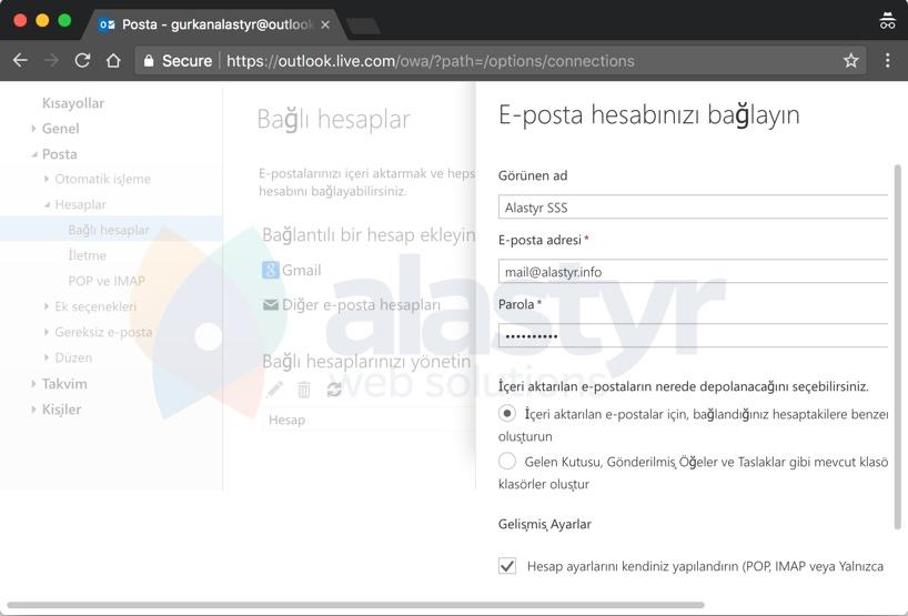 E-Posta Hesabını Outlooka Yönlendirme - 4