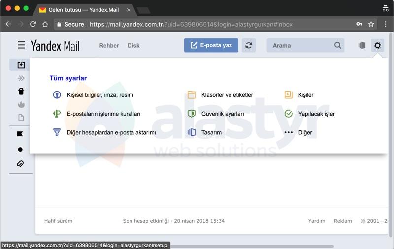 E-Posta Hesabını Yandexe Yönlendirme - 1