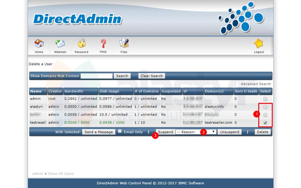 DirectAdmin Hosting Silme