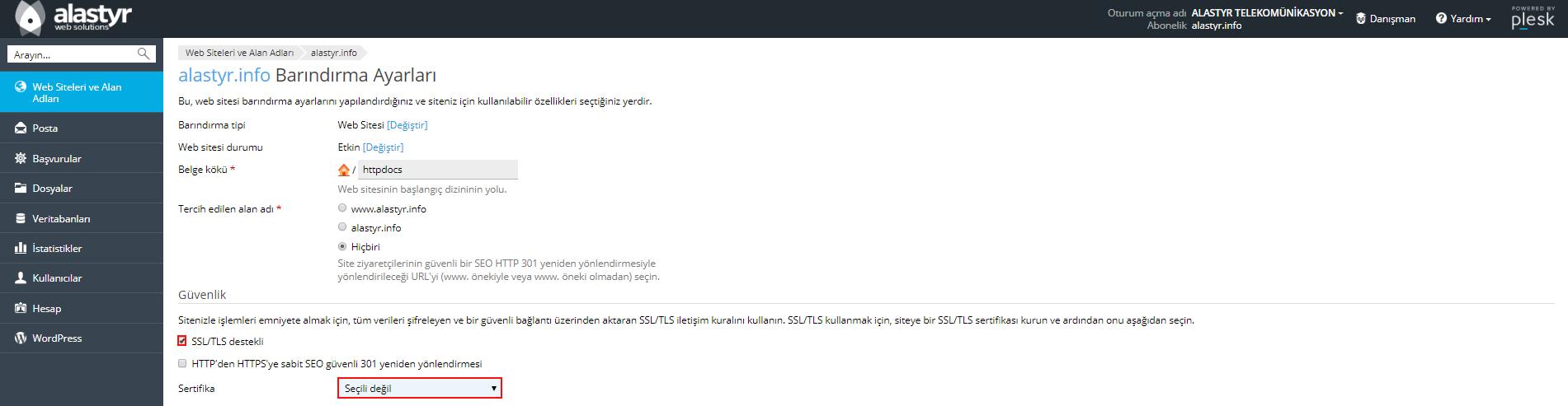 Plesk Panel'de SSL Yapılandırma