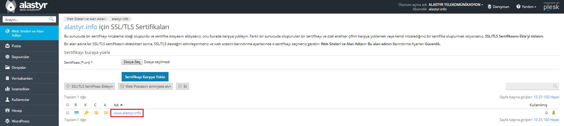 Plesk SSL Sertifikası Indirme ve Yukleme (3)