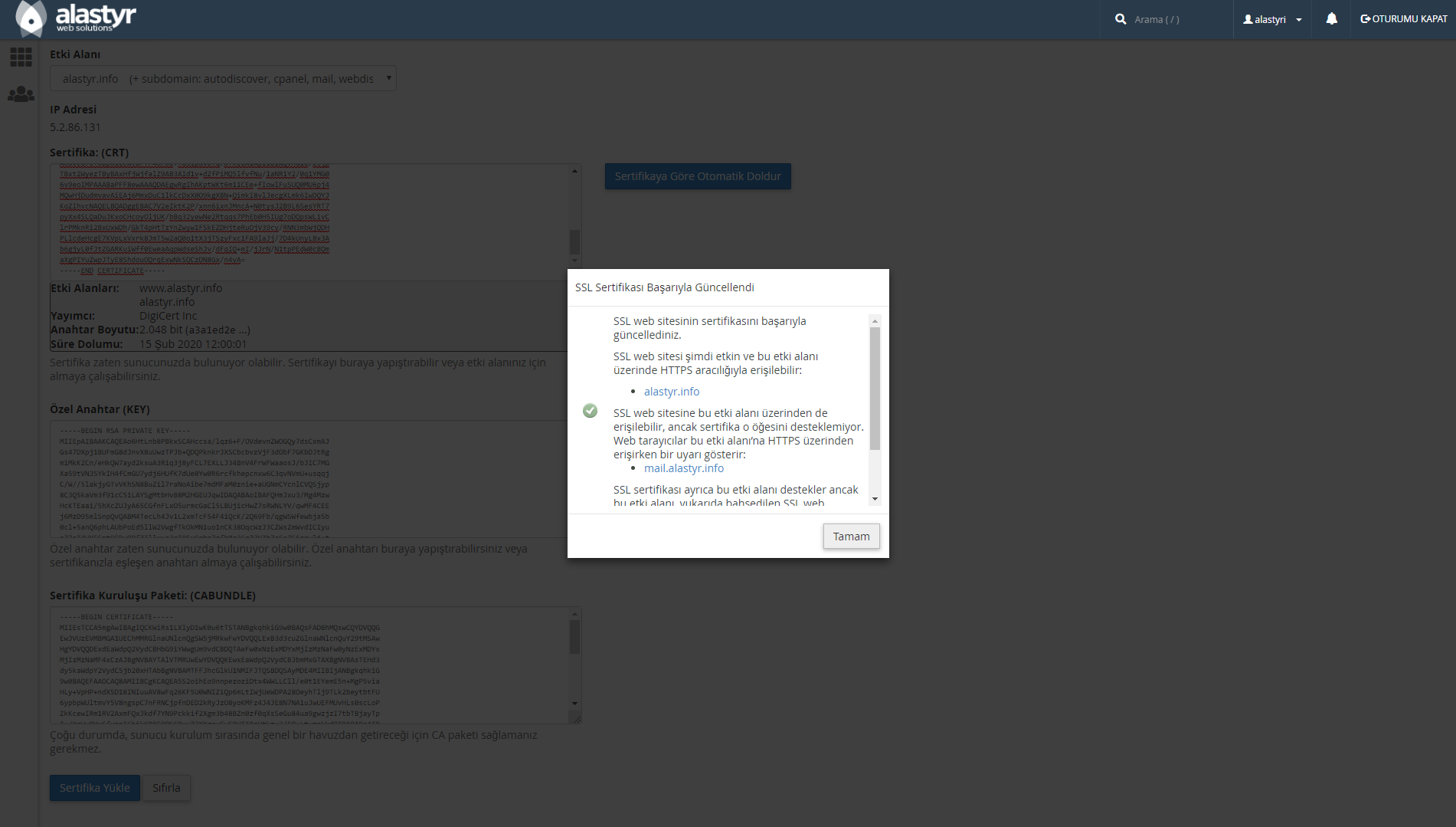 SSL Sertifikası Indirme ve Yukleme (5)