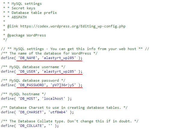 WordPress Veritabanı Bağlantı Ayarları