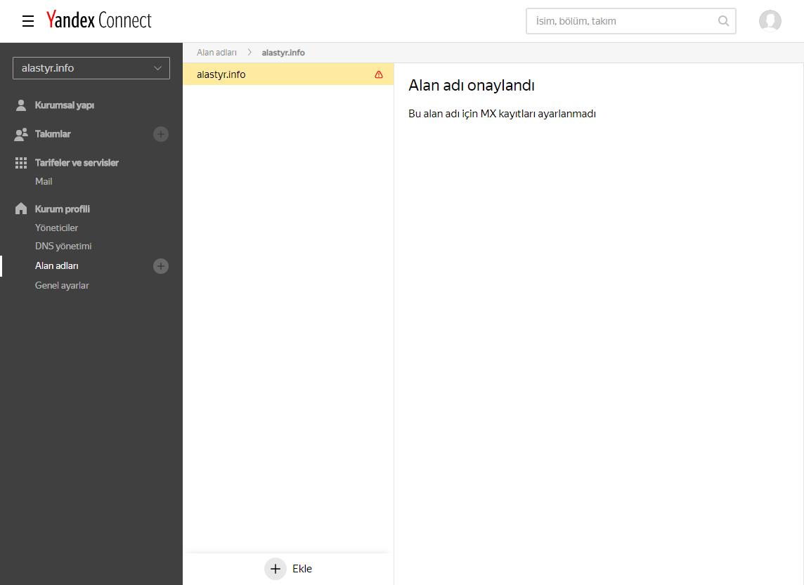 Yandex MX Ayarları