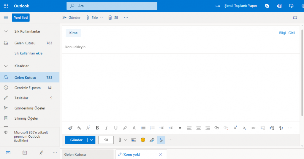 hotmail mail göndermek